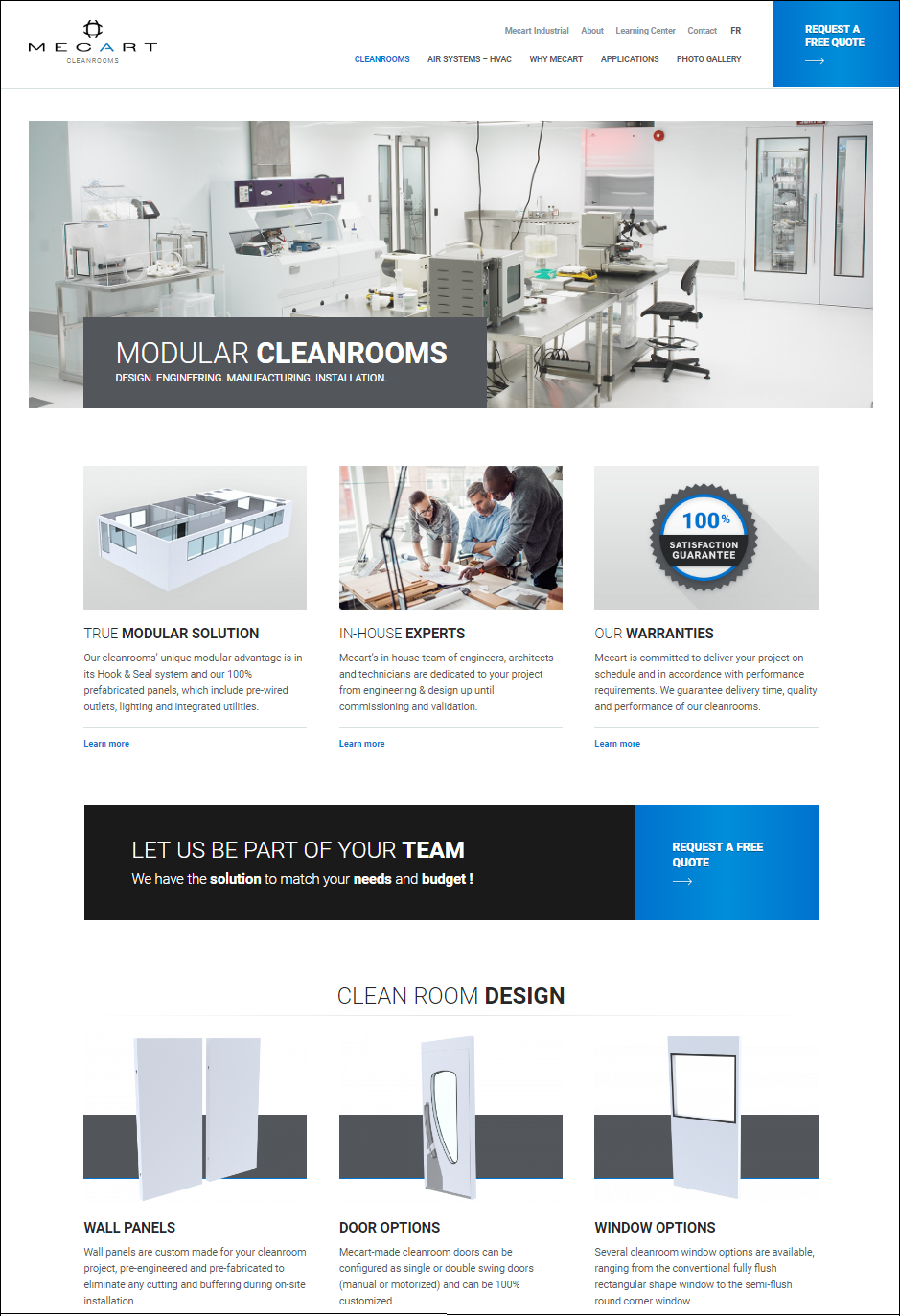 mecart cleanroom website screen shot