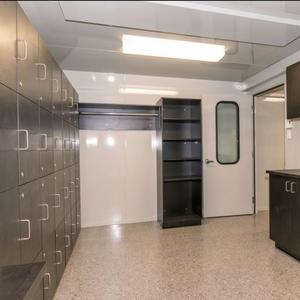 locker room modular building insulated acoustic / salle de repos modulaire insonorisé usine