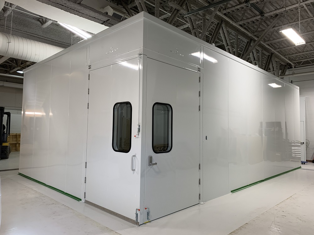 doors closed acoustic booth cold spray mecart