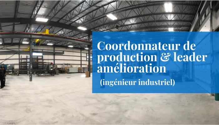 Coordonnateur de production & leader amélioration - ingénieur industriel emploi